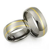 double inlaid titanium rings