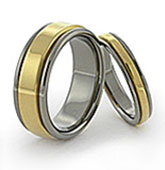 Solid yellow gold inlay, rounded titanium wedding band