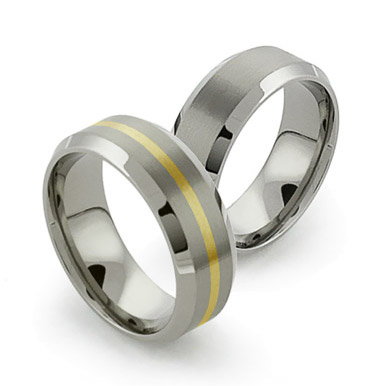 Beveled Titanium Rings with inlay