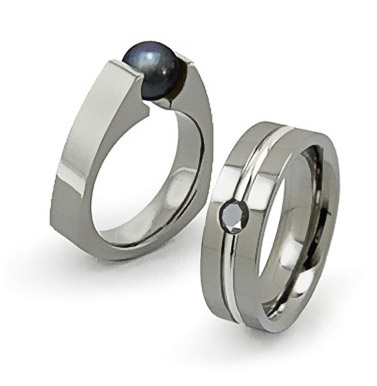 titanium rings set with black diamond and pearl