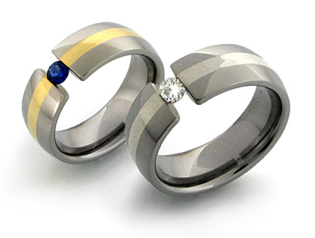 titanium wedding bands with stones and gold inlays