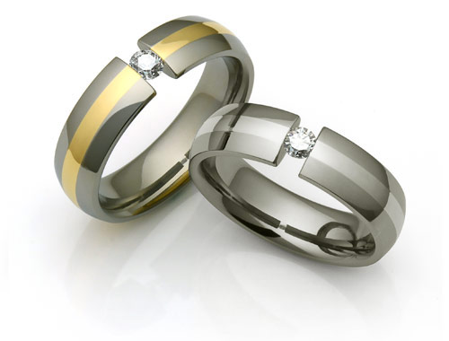 titanium tension rings with inlays
