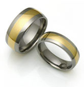 extra wide gold inlay titanium ring