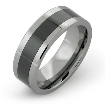 Tungsten Rings with Black Ceramic