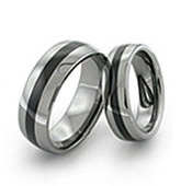 tungsten rings with narrow black inlay in the middle