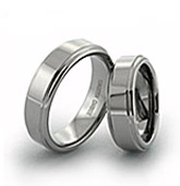 step-down edges tungsten rings, available with custom finishes and engraving