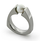 pearl set titanium ring white