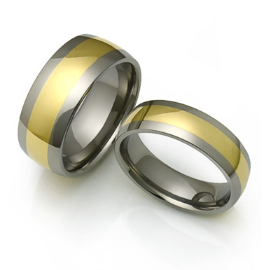 Titanium Rings with wide gold inlays