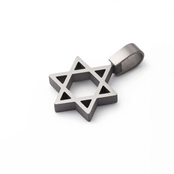 brushed finish titanium star of  david