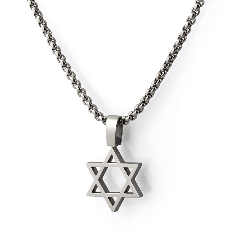 Modern Titanium Star Of David Necklace