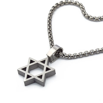 polished finish titanium magen david necklace