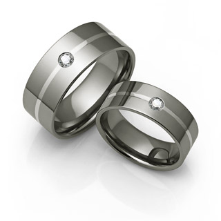diamond titanium rings with white gold inlay