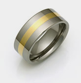 Titanium & Yellow Gold Inlay Ring