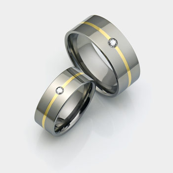 titanium rings set with diamonds and thin line 18K gold inlay