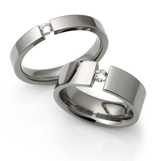 Tension Set Engagement Rings Titanium Rings