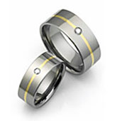 Diamond Titanium Ring with Thin Line Inlay.