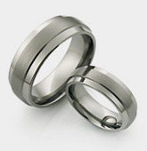 Raised Center Ti tanium Wedding Rings