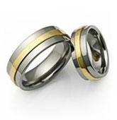 titanium and elevated yellow gold rings