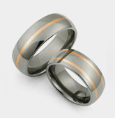 titanium rings with rose gold inlays